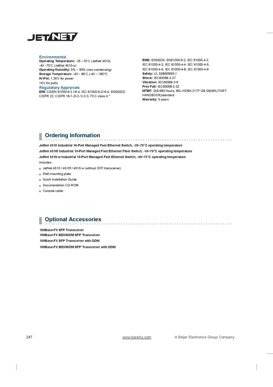 Korenix JetNet 4510/4510-w Industrial 10-port Managed Fast Ethernet Switch