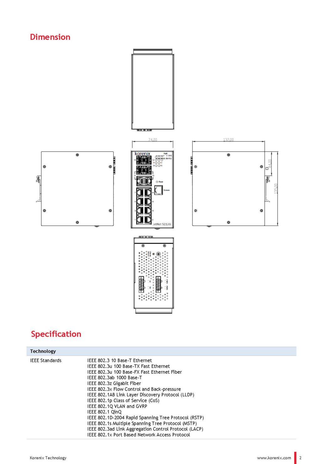 korenix JetNet 5212G-2C2FIndustrial 8G RJ45 + 2G Combo + 2G SFP Managed Ethernet Switch