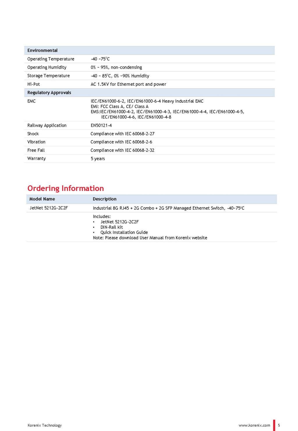 JetNet 5212G-2C2FIndustrial 8G RJ45 + 2G Combo + 2G SFP Managed Ethernet Switch