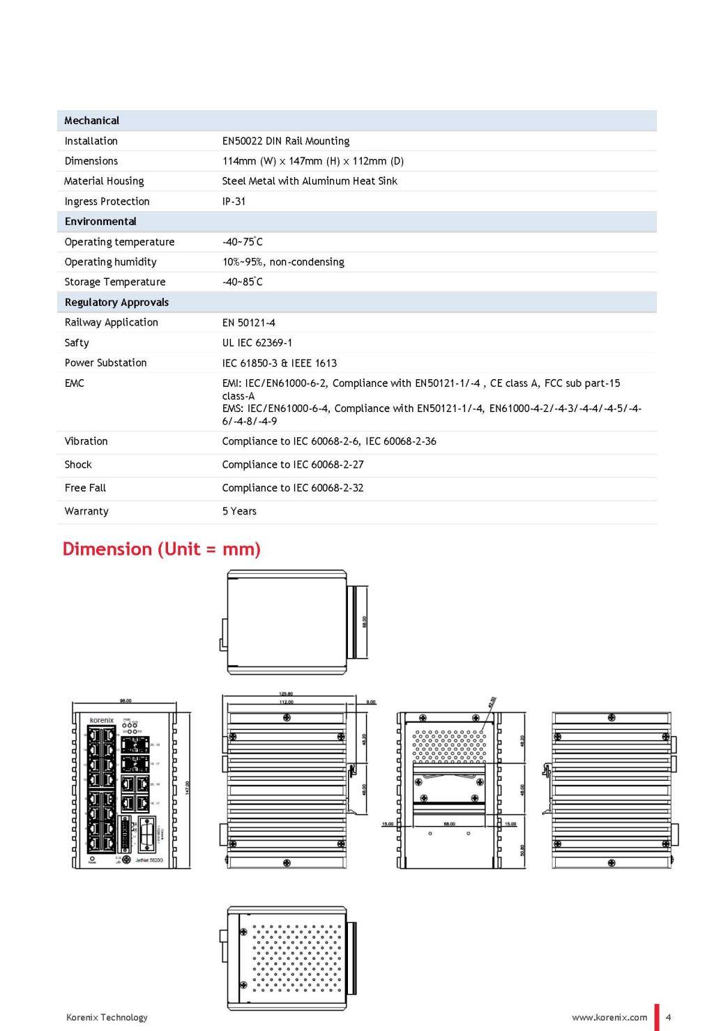 JetNet 5620G-4C Industrial Full Gigabit Ethernet L2 Switch