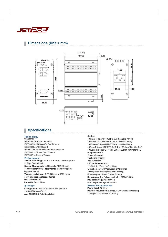 Korenix JetNet 3806G Industrial 4 PoE + 2 GbE Booster PoE Switch