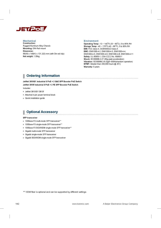 Korenix JetNet 3810Gf / 3810f Industrial 8 PoE + 2 GbE / FE SFP Booster PoE Switch