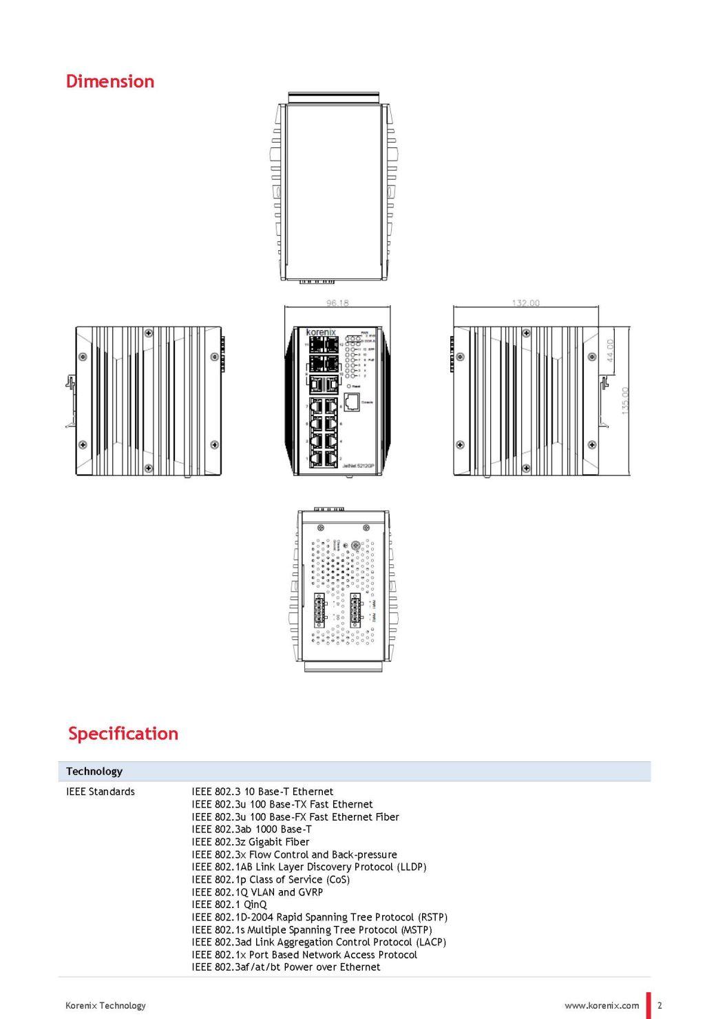 korenix JetNet 5212GP-2C2F Industrial 8G RJ45 + 2G Combo + 2G SFP Managed PoE Switch