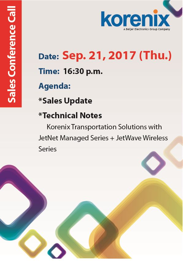 Korenix Technology, Sales Conference Call, Monthly Update, Transportation Solutions