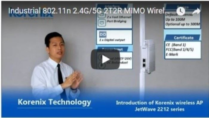 Industrial 802.11n 2.4G/5G 2T2R MIMO Wireless AP with compact size | Korenix technology